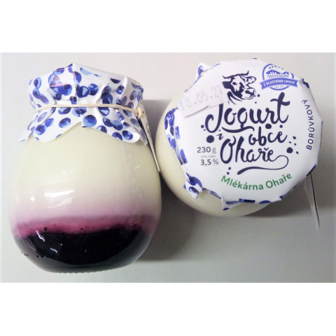 Jogurt Borůvka 3,50 % 230g sklo Ohaře